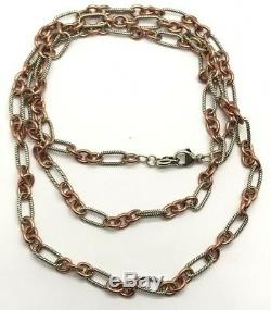 Sterling Silver Copper Cable Twist Circle Oval Link Heavy Long Double Necklace