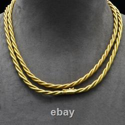 Tiffany & Co. Solid 18K Yellow Gold Braided Double Rope Chain Necklace 76 grams