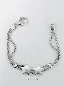 Tiffany & Co. Sterling Silver Twist Rope Double Medium Puffed Star Bracelet