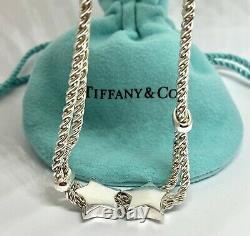 Tiffany & Co. Sterling Silver Twist Rope Double Sliding Puffed Star Bracelet