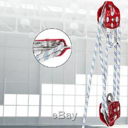 Twin Sheave Block and Tackle 6300Lb Pulley System 200ft 7/16 Double Braid Rope
