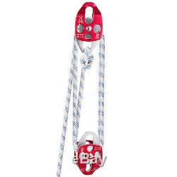 Twin Sheave Block and Tackle 6600lbs Pulley 200Ft, 7/16Inch Double Braid Rope