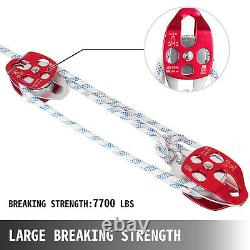 Twin Sheave Block and Tackle 7500Lb Pulley System 100ft 1/2Double Braid Rope