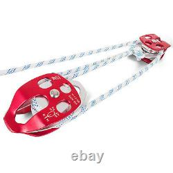 Twin Sheave Block and Tackle 7700Lb Pulley System 200 feet 1/2 Double Braid Rope