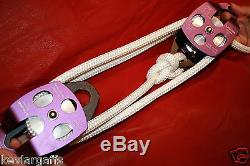 Twin sheave block and tackle 6300Lb pulley 100 feet 7/16 Double Braid Rope