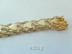 VINTAGE MINT Ladies 14K Yellow Gold Double Rope 7.5 Bracelet with Center Hearts