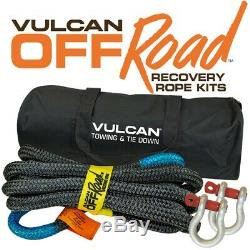 VULCAN 7/8'' x 20' Off-Road Double Braided Recovery Rope Kit with Rope, Two Shackl