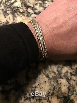 Vintage 14K Gold Diamond Double Rope Braided Elegant Bracelet 711.6g