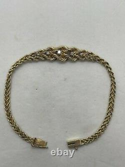 Vintage 14k yellow gold Pat twist rope chain double strand diamond bracelet 6.4g