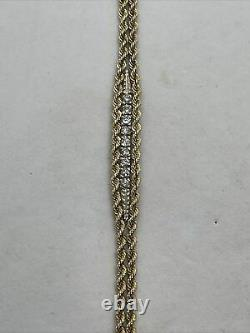 Vintage 14k yellow white gold Pat twist rope chain double diamond bracelet two