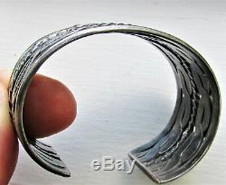 Vintage Navajo Wide Cuff Bracelet Double Twist Rope Design IH Coin Silver 52 Gr