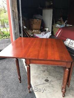 Vintage Solid Cherry Drop Leaf Double Gate Leg Dining Table (Rope Twist Legs)