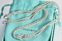 Vintage Tiffany & Co Italy Silver Double Chain Rope Love Knot Necklace Pendant