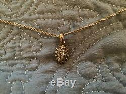 Vintage Yellow Gold Double twist Rope 14k gold necklace with10 K pendant 3.87g