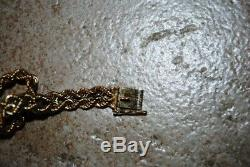 Vtg 7.5 Double Braided Rope 14K Yellow Gold HMS Bracelet 11.2 grams Box Clasp