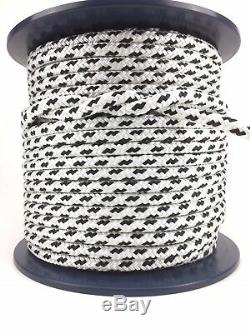 White/Black Double Braid Polyester Rope 8mm 10mm 12mm 14mm 16mm By 100M Reel