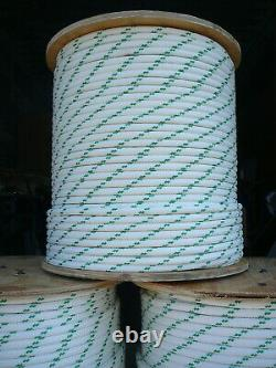 YALE Halyard Sheet Line Double Braid Polyester Sail Rope 1/2 x 120' White/Green