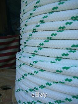 YALE Halyard Sheet Line Double Braid Polyester Sail Rope 1/2 x 150' White/Green