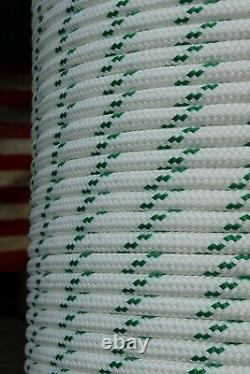 YALE Halyard Sheet Line Double Braid Polyester Sail Rope 1/2 x 200' White/Green